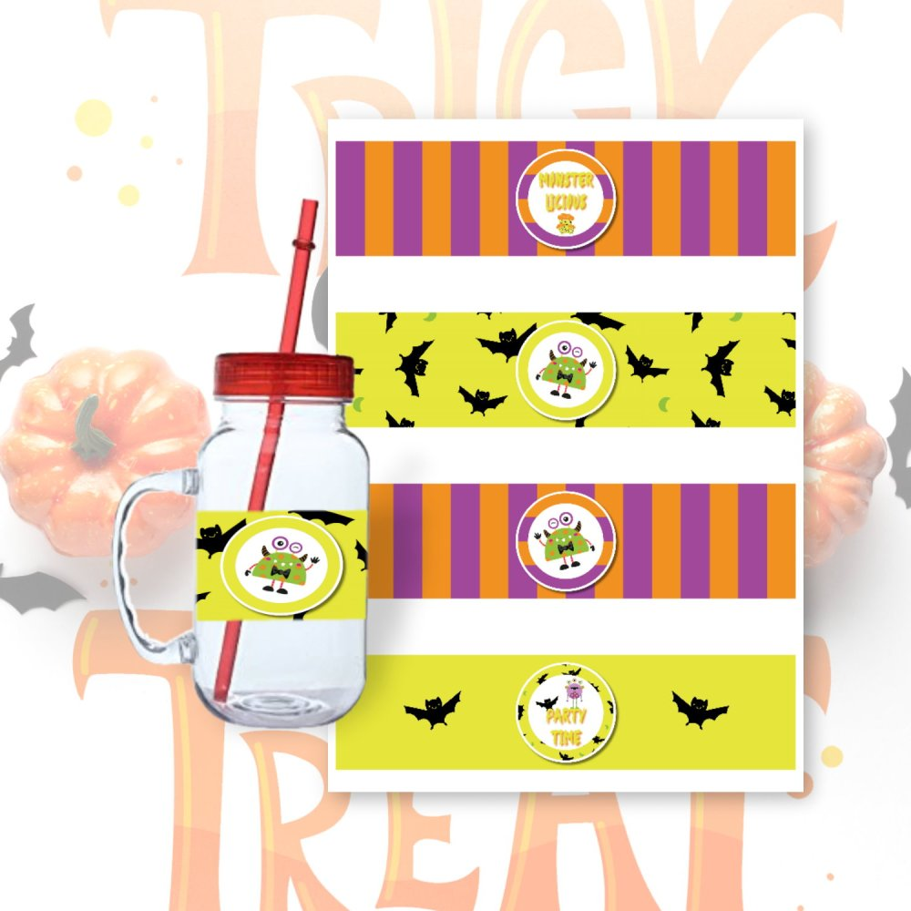 Halloween DIY Monster Mash Bottle Wrappers by Kangaroo Kids Designs