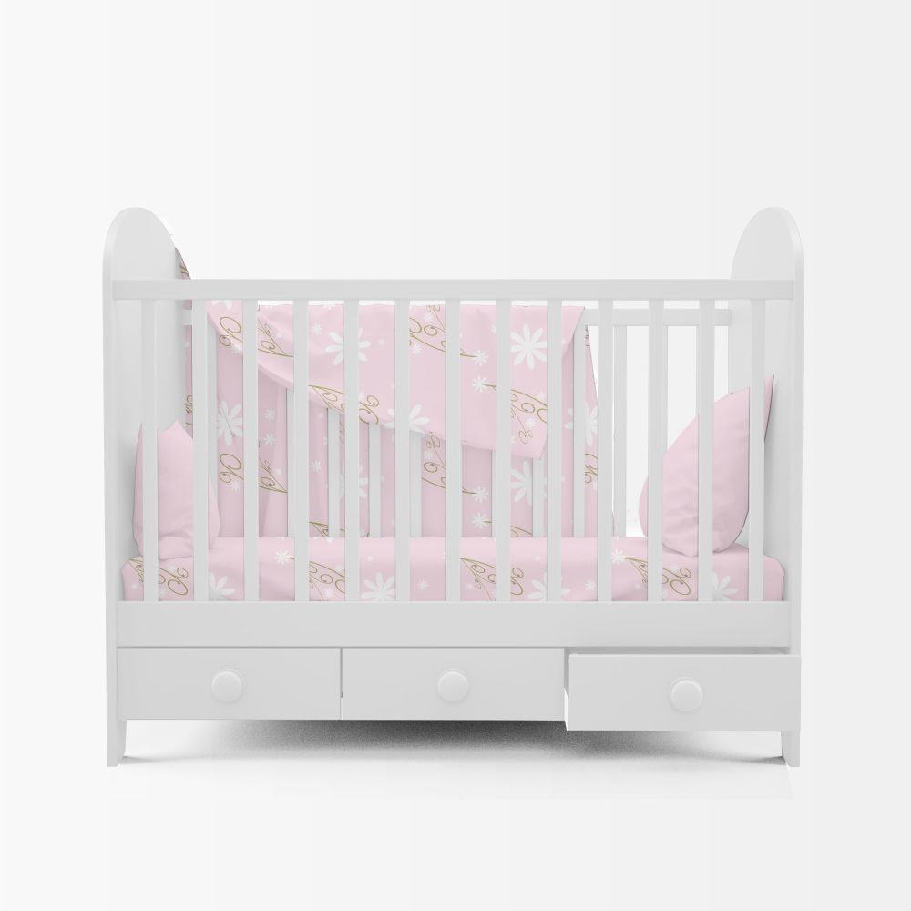 Baby Girl Cot Sheet Co-ordinates with Bambi Personalised Prints by Kangaroo Kids Designs