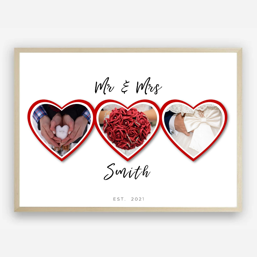 Mr & Mrs Wedding, Engagement or Anniversary Celebration Custom Photo Collage Print by Kangaroo Kids Designs