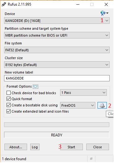 membuat bootble flasdisk linux blankon dengan rufus