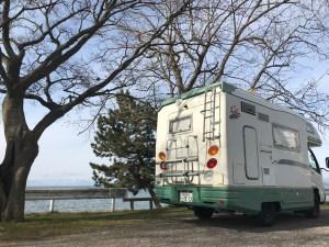 琵琶湖湖岸道路をビワイチドライブ バンテックジル3 キャンピングカーレンタル滋賀カノアカーレンタル