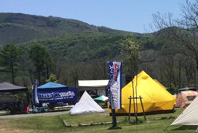 戸隠キャンプ場でのテント展示会の受付