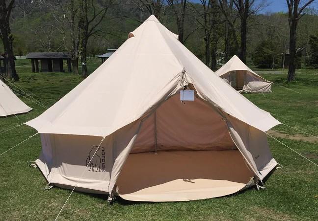 戸隠キャンプ場でのテント展示会のノルディスク・アスガルド12.6