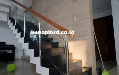 Railing Tangga Kaca Stainless, Handrail Kayu