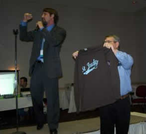 Matt McCluggage chanting for the top dollar for St. Jude's