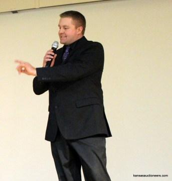 Josh Miller competing in the 2016 Kansas Auctioneer Preliminaries.