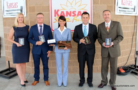 2016 Kansas Auctioneer Championship top five finishers. Trisha Brauer (4th place), Justin Ball (3rd place), Yve Rojas (2016 Kansas Auctioneer Champion), Titus Yutzy (Reserve Champion) and Tony Wisely (5th place).
