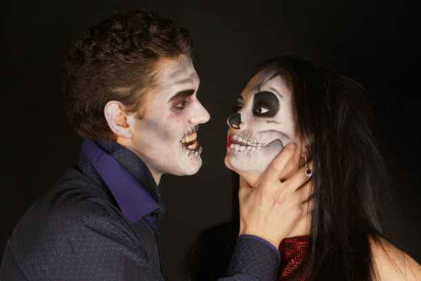 Kansas City Halloween Parties and Events for Adults - a couple in zombie makeup