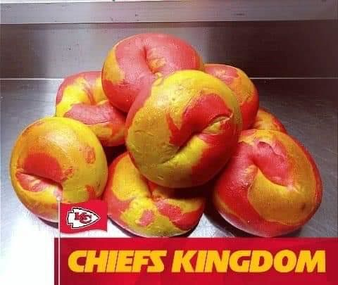 Kansas City Super Bowl Food Deals - red and gold bagels