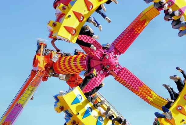 Platte County Fair - people riding a carnival ride