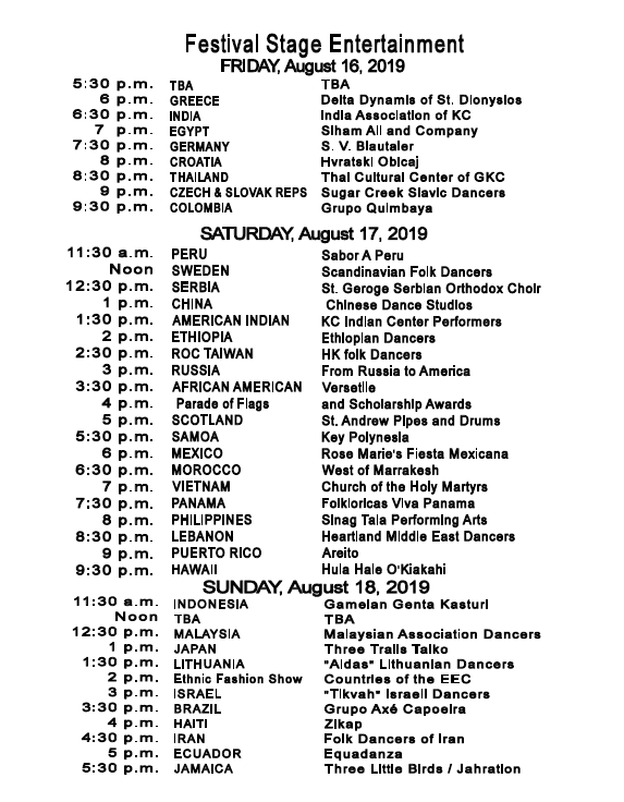Kansas City Ethnic Enrichment Festival entertainment schedule