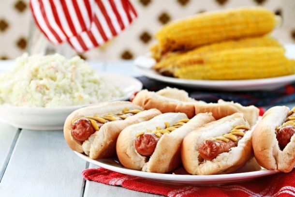 Hot dogs and corn on the cob