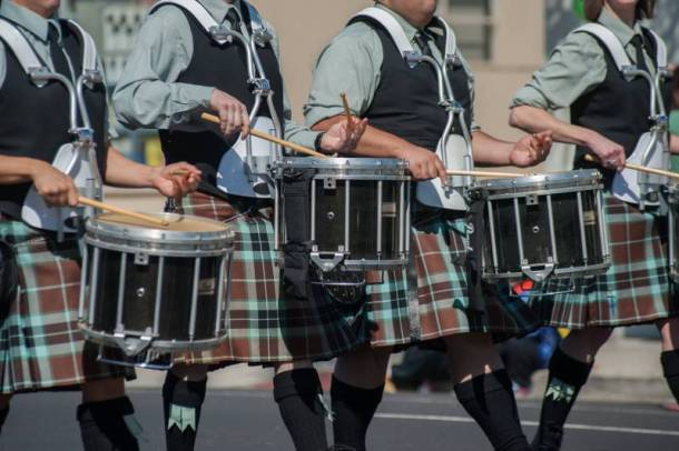 Kansas City spring festivals - band marching in kilts with drums