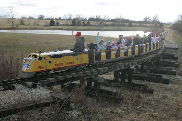 Kansas City Santa Trains - mini train at Santa Express celebration in Bonner Springs