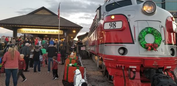 Branson Scenic Railway - train engine at the station decorated for Christmas