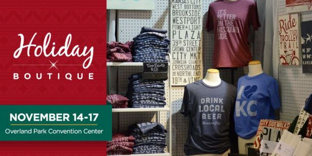 Kansas City Holiday Boutique - display of t-shirts, signs and local KC merchandise
