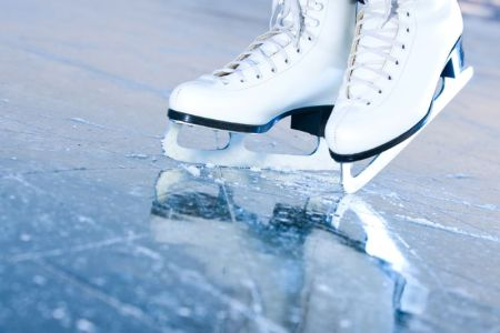 Polar Express on Ice - a pair of figure skates on ice