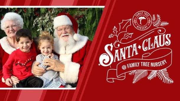Free Santa Photos with Santa in Kansas City - Santa and Mrs. Claus with two young kids