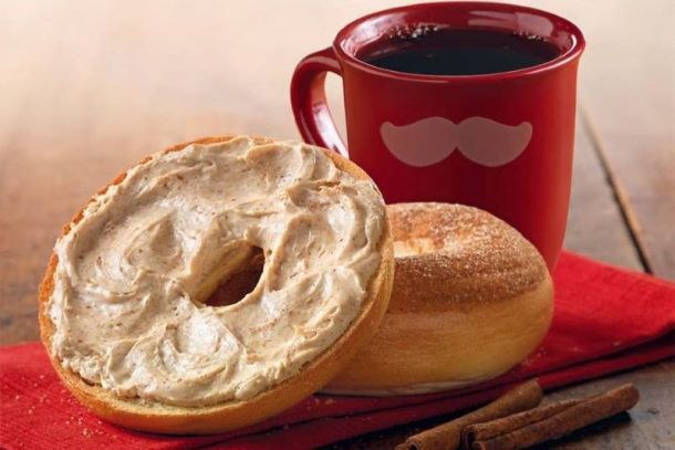 National Bagel Day offers in Kansas City - bagel with cream cheese and a cup of coffee