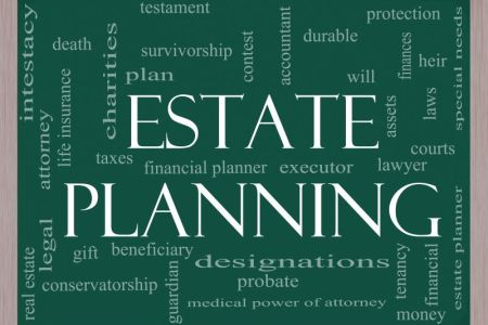 Estate planning concepts on a chalkboard