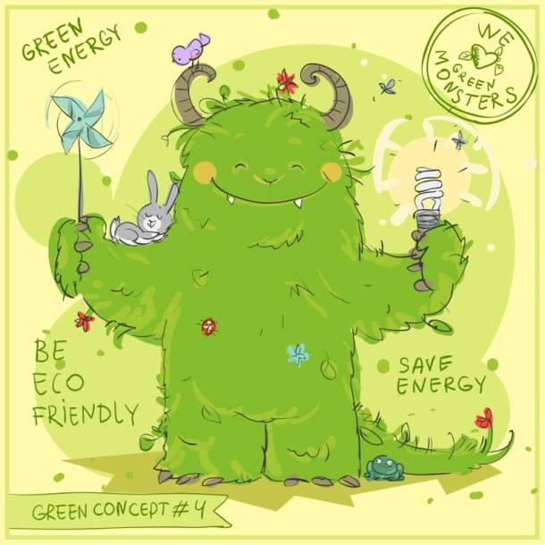 Earth day events in Kansas City - green monster cartoon
