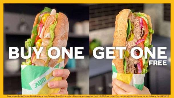 buy one get one free subway