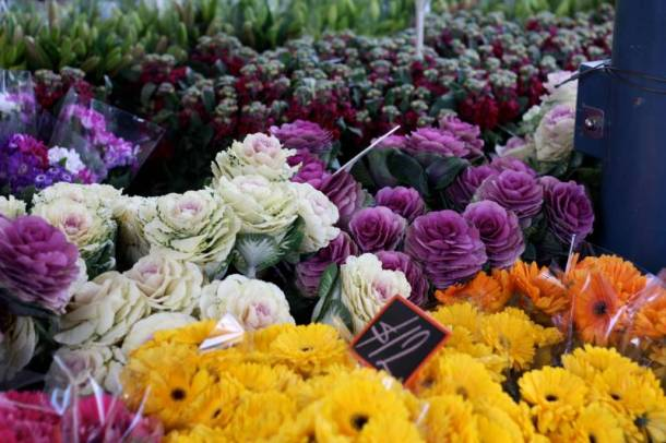 Farmers markets in Kansas City - fresh flowers and greens for sale