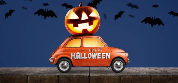 trick or treating in Kansas City - car with jack o lantern on top