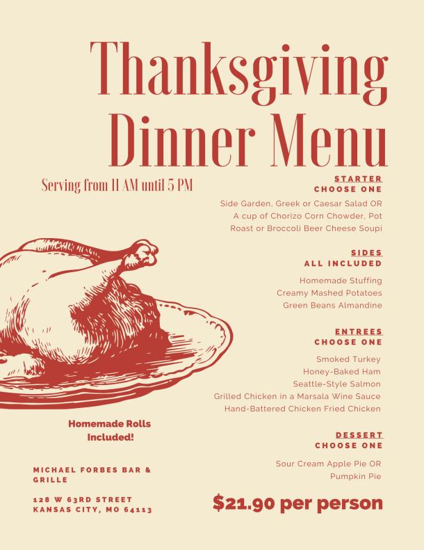 KC Restaurants open on Thanksgiving