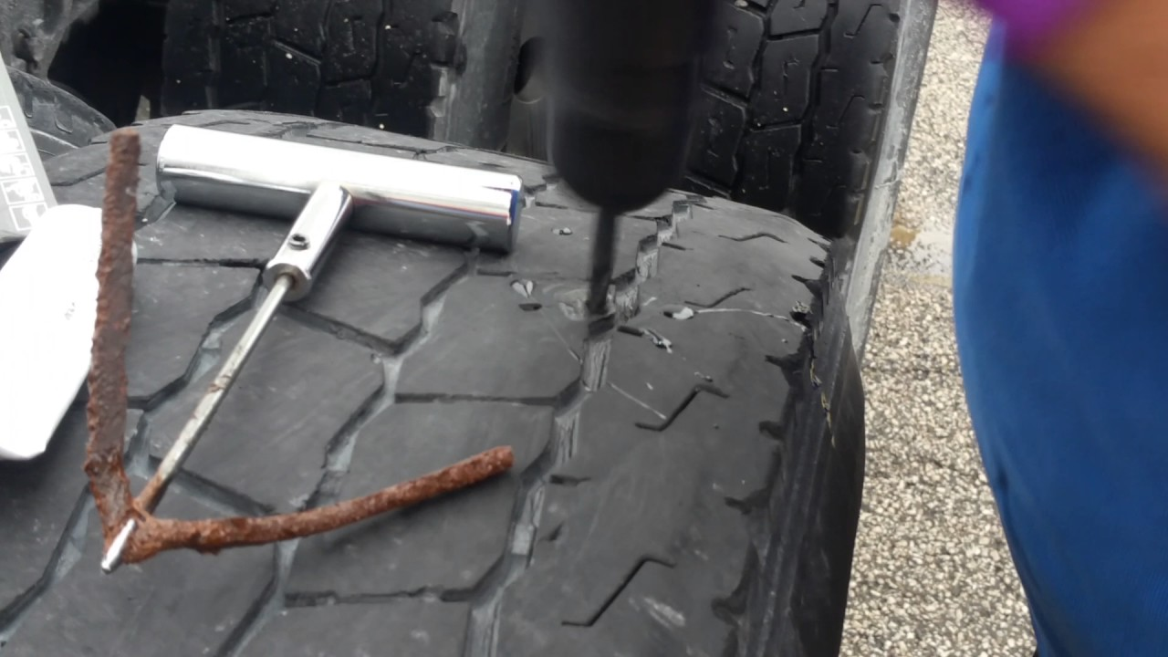 How To Repair a nail hole in a tire with a plug on semi truck, big truck or car tire.