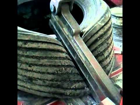 Semi tire cutting