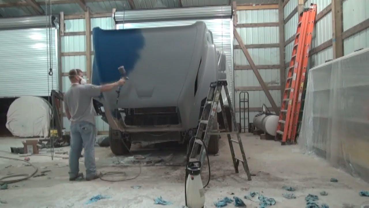 Semi truck fiberglass hood repair part 2