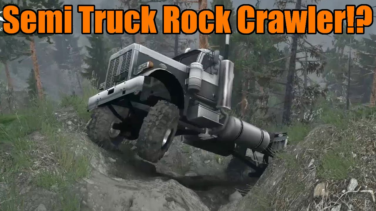 Spin Tires Lifted Semi Truck Rock Crawling