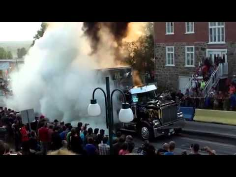Burning tires in a giant truck