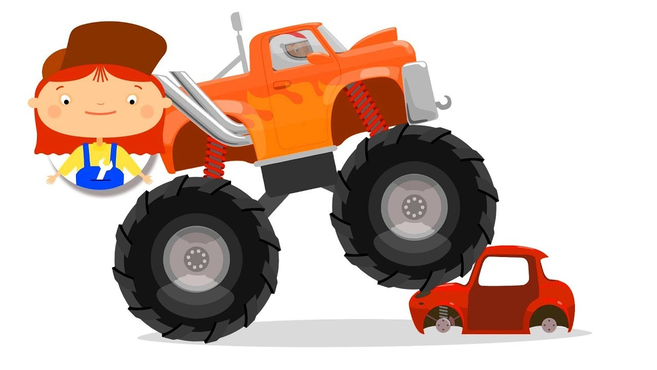 Cartoon trucks for kids. Monster truck repair.