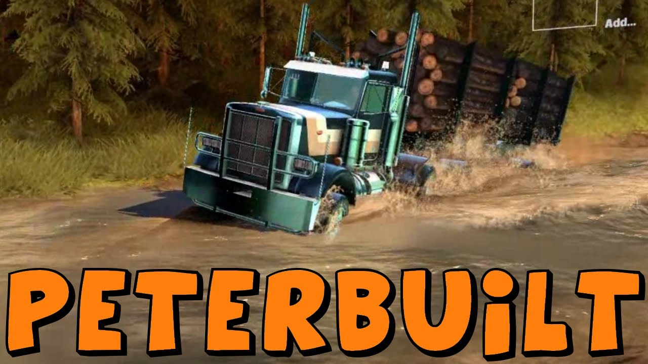 Spin Tires | Peterbuilt Logging Truck With Trailer vs The Towing Challenge