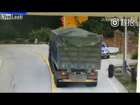 Two semi-trucks tires destroys an SUV