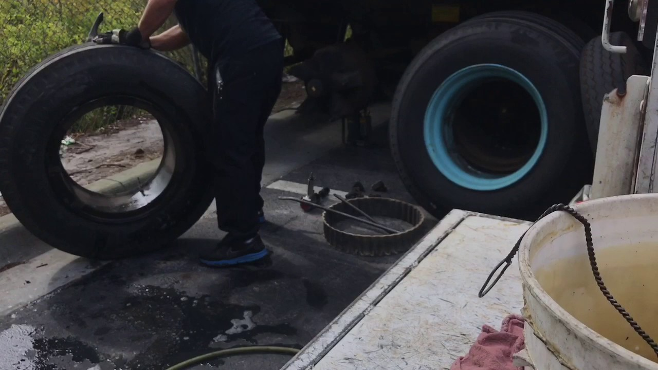 Changing a truck tire 10.00-20 (Full Video)