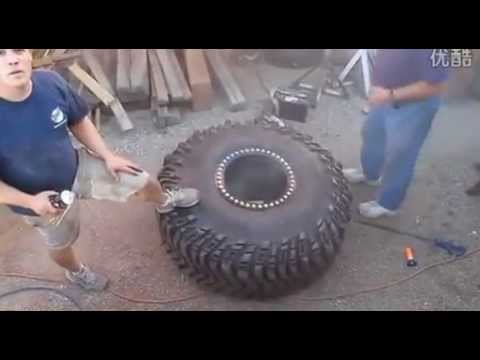 Tire blows up when repairing.. Funny, but dangerous, and funny......