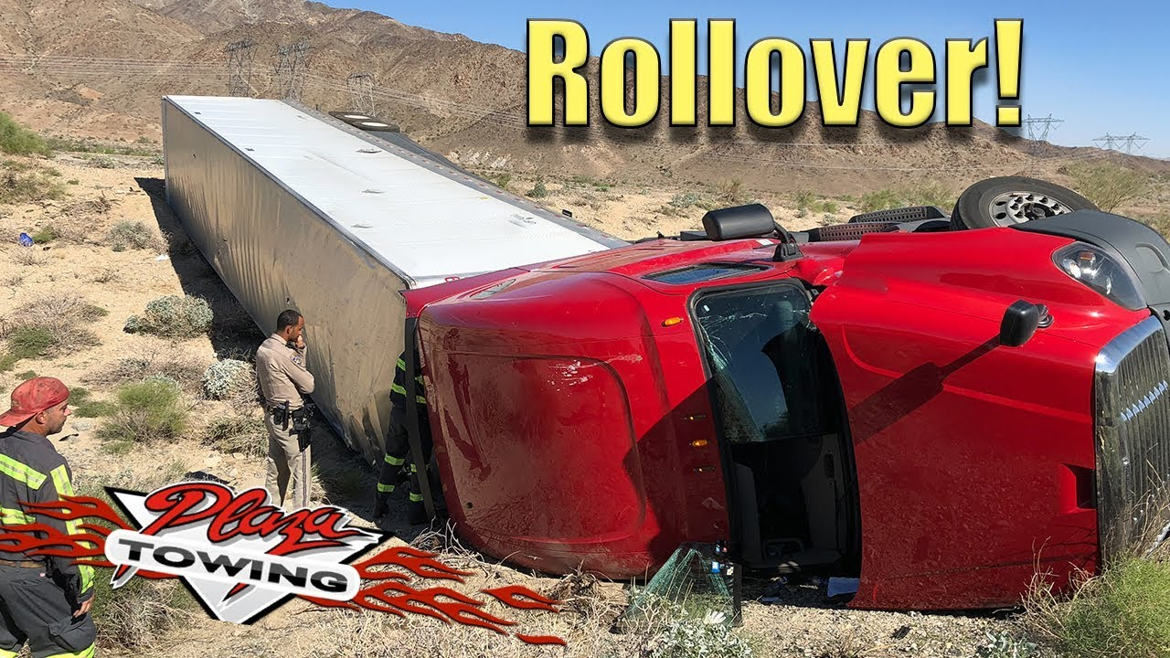 Semi Truck Flips Over! Towing And Recovery  - Part 1 -  Rigging For Upright