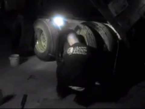 changing a semi truck tire at night
