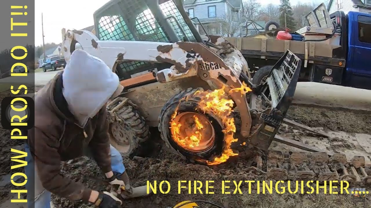 Fixing a Skid Steer Tire with Starting Fluid and a Torch!! + all about my STEEL TRACKS