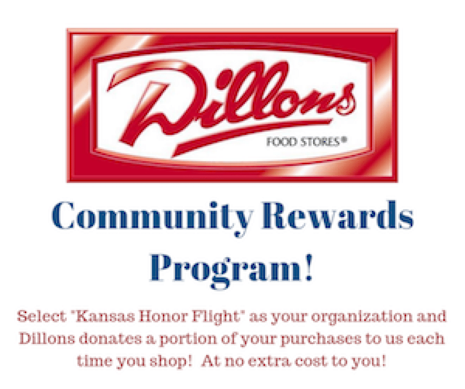 Kansas Honor Flight receives a percentage of grocery sales through the Dillons Community Rewards program