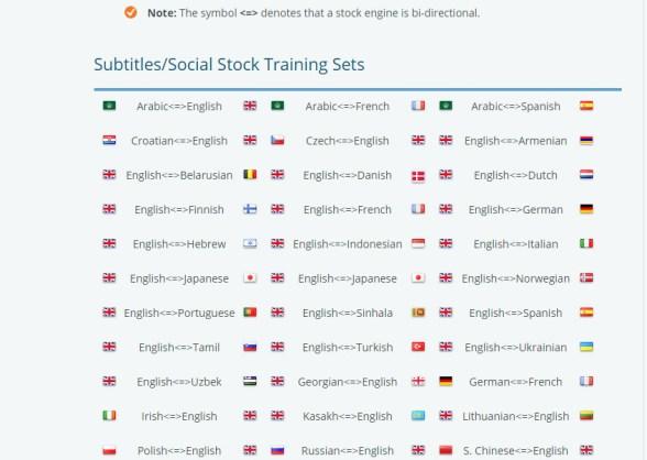 KantanMT Stock Engine Training data