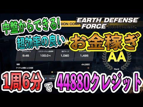 【EDF:IRON RAIN】1周6分で44880クレジット稼ぐ!中盤からできる超効率の良いおすすめお金稼ぎを紹介!【地球防衛軍スピンオフ】