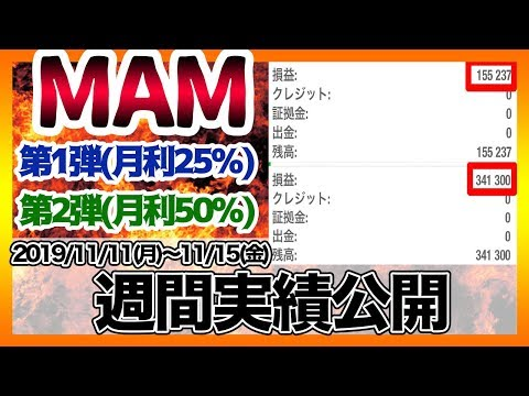 FXコピートレード、MAMの実績大公開!【11/11〜11/15の実績です】