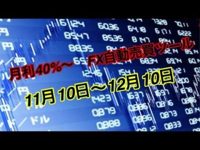 【自動売買】月利40%~自動で稼げるFX自動売買ツール【2019年11月10日~2019年12月10日】