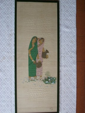 A scroll painting by Surayia Rahman:  Water Carriers.  Photo courtesy of: F. Rigon