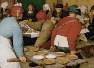 Id. Pieter Bruegel: Parasztlakodalom, 1568 (részlet)