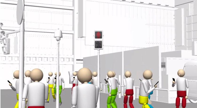 (Imagen referencial, simulación de uso de smartphone en el cruce de Shibuya de la Docomo)